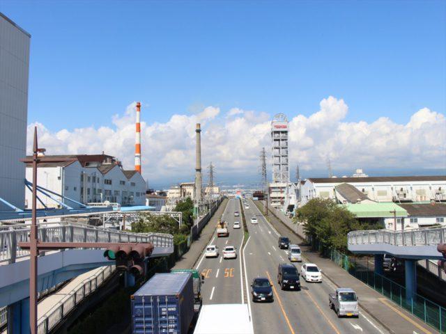 富士見大通りの歩道橋から見た蓼原大橋